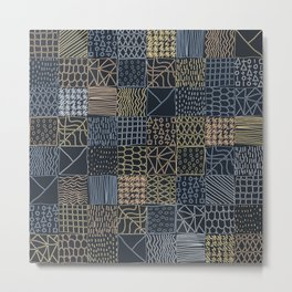 Hand Drawn Geometric Square Pattern Design - Navy Blue Metal Print