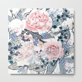 Beautiful vector pattern with pink and white peony flowers in vintage style Metal Print