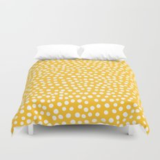 DOT PATTERN - yellow and white Duvet Cover