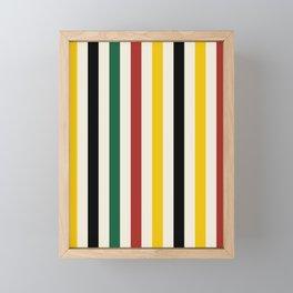 Rustic Lodge Stripes Black Yellow Red Green Framed Mini Art Print