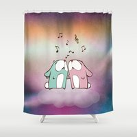 rabbits Shower Curtains featuring Singing Rabbits by haroulita
