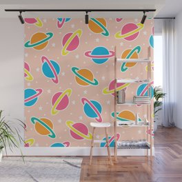 Space Planets Pattern in Pink Wall Mural
