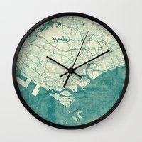 singapore Wall Clocks featuring Singapore Map Blue Vintage by City Art Posters