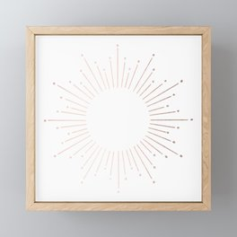 Sunburst Moon Dust Bronze on White Framed Mini Art Print