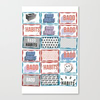 stickers Canvas Prints featuring STREET STICKERS by John Jr Badd Habits