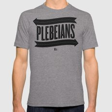 <= PLEBEIANS => (BLACK) Mens Fitted Tee SMALL Tri-Grey