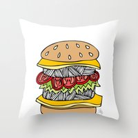 burger Throw Pillows featuring Burger by Amber Lily Fryer