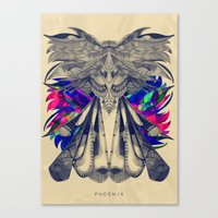 phoenix Canvas Prints featuring PHOENIX by Galvanise The Dog