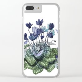 """Spring garden of blue cyclamen and butterflies"" Clear iPhone Case"
