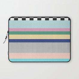 Stripes Mixed Print and Pattern with Color blocking Laptop Sleeve
