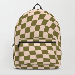 Check VI - Green Twist — Checkerboard Print Backpack
