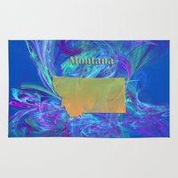 montana Area & Throw Rugs featuring Montana Map by Roger Wedegis
