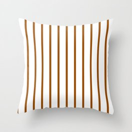 Vertical Lines (Brown/White) Throw Pillow