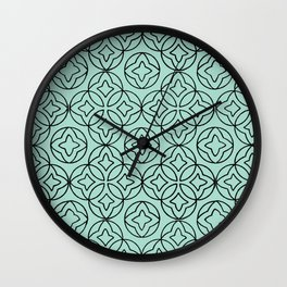 Ancient Pattern Illustration in Blue Wall Clock