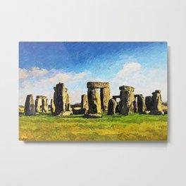 Stonehenge - Acrylic & Palette Knife Paint on Canvas Metal Print