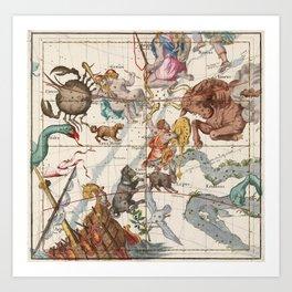 Vintage Constellation Map - Star Atlas Art Print