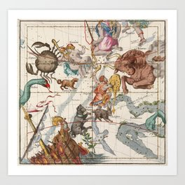 Vintage Constellation Map - Star Atlas Art Print