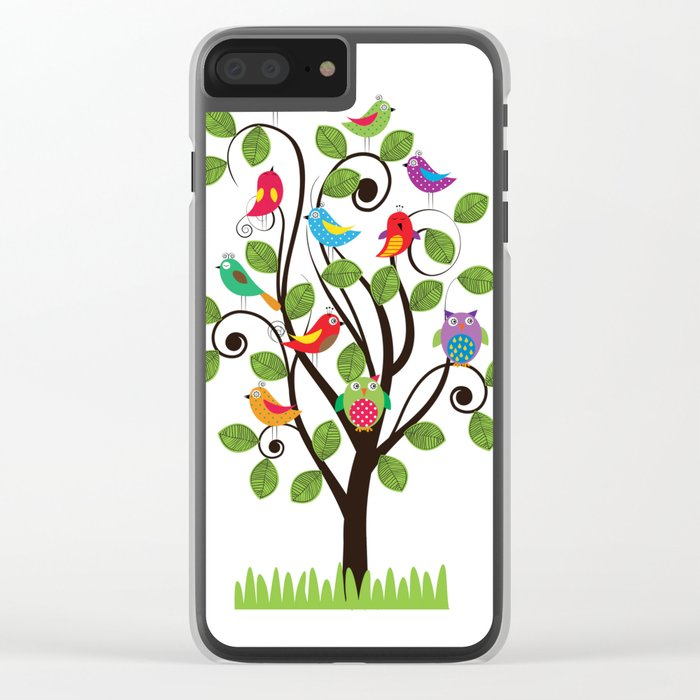 Colorful birds Clear iPhone Case