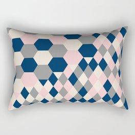Honeycomb Blush and Grey Rectangular Pillow