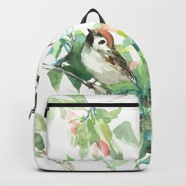 Sparrows And Apple Blossom, bird art Sage, teal green Vintage style floral bird art Backpack