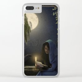 Reading in the moonlight Clear iPhone Case