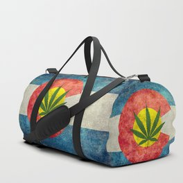 Retro Colorado State flag with leaf - Marijuana leaf that is! Duffle Bag
