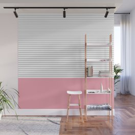 Minimal Gray Stripes - Pink Wall Mural