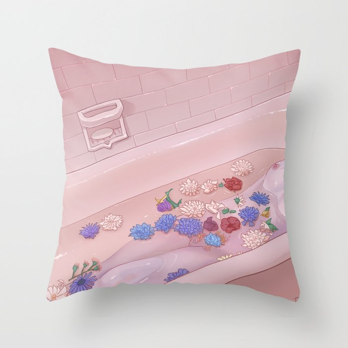 Flower Bath 9 Throw Pillow
