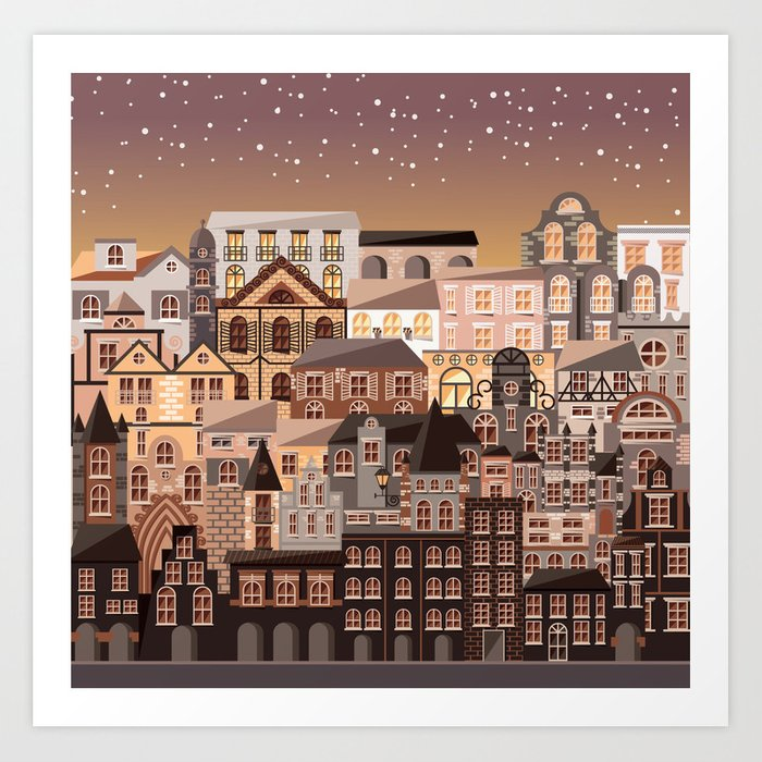 Moonlight Homes Art Print
