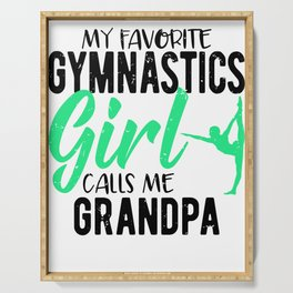 Gymnast Grandfather My Favorite Gymnast Calls Me Grandpa Serving Tray