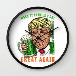 Make St. Patrick's Day Great Again I Ireland Leprechaun product Wall Clock