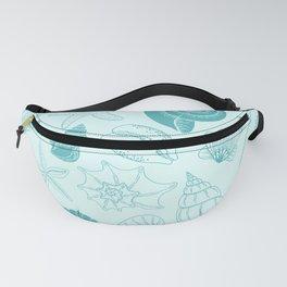 Seashells and Starfish Pattern in Sea Breeze Blue Fanny Pack
