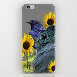 THREE CROWS/RAVENS  YELLOW SUNFLOWERS ON GREY ART iPhone Skin