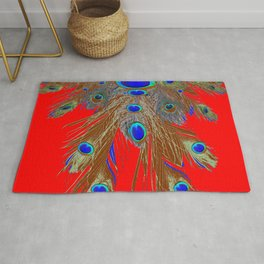 DECORATIVE  RED GREEN BLUE PEACOCK FEATHER JEWELS Rug
