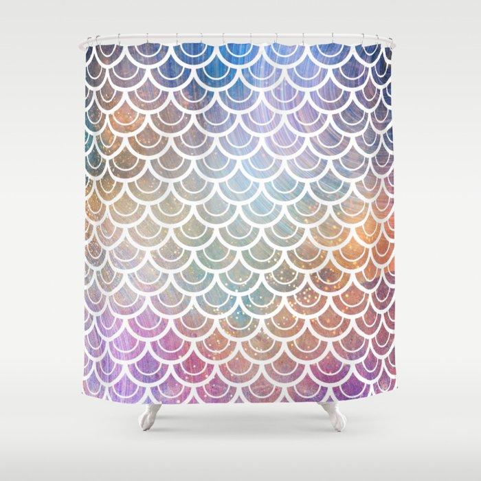 Mermaid Rainbow Sparkle Shower Curtain By Naturemagick