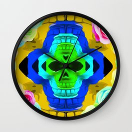 funny skull portrait with colorful roses in pink blue yellow green Wall Clock