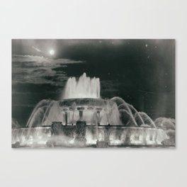 Chicago Moonlit Fountain Vintage Inspired Illinois Canvas Print