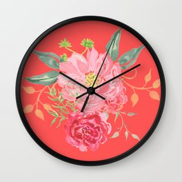 Pink Floral Watercolor Wall Clock