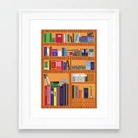 video game Framed Art Prints featuring Video Game Geek's Bookshelf by ambivalentpress