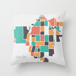 Santa Ana California Map with neighborhoods and modern round shapes Throw Pillow