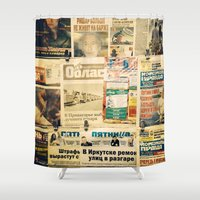 russian Shower Curtains featuring Russian newspapers by Rick Onorato