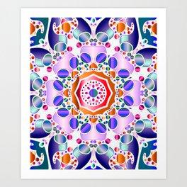 Cool Colors Hexagon Mandala Art Print