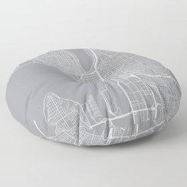 Seattle Map, Washington USA - Pewter Floor Pillow