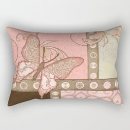 Butterfly Scroll Damask Lace Swirl Polka Dot Modern Pattern Watercolor Art Rectangular Pillow