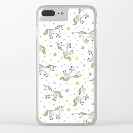 Unicorns and Stars - White and Rainbow scatter pattern Clear iPhone Case