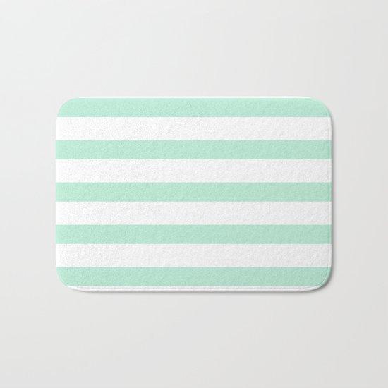Maritime - Mint green and White stripes-horizontal Bath Mat