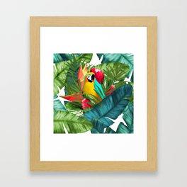 Fresh Parrot Tropical Banana Leaves Bouquet Framed Art Print