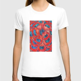 Red and Blue Flower Pattern T-shirt