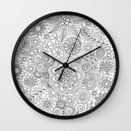 White Doodle Pattern Wall Clock
