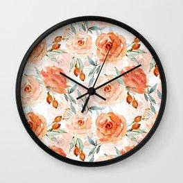 Living Coral Autumnal Roses Wall Clock